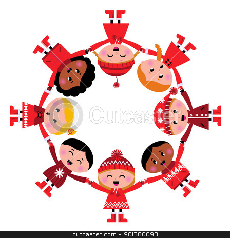 Cute christmas multicultural children in circle isolated on whit stock vector clipart, Happy smiling winter kids in circle. Vector cartoon Illustration. by BEEANDGLOW