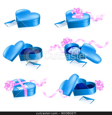 Set of blue boxes in heart shape stock photo, Set of blue boxes in heart shape. Illustration on white background. by dvarg
