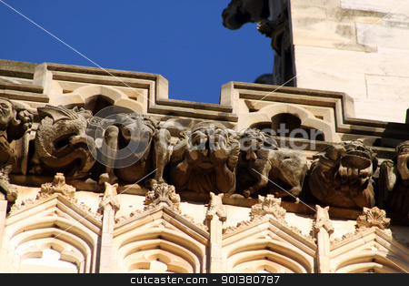 Five gargoyles stock photo, Five gargoyles found on the side of Chester Cathedral by Denis Brien