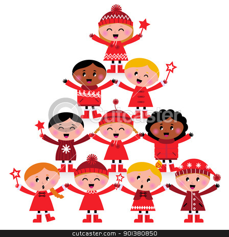 Christmas multicultural kids Tree isolated on white stock vector clipart, Happy multicultural kids in red winter costumes. Great design for christmas party. Vector cartoon Illustration.  by BEEANDGLOW