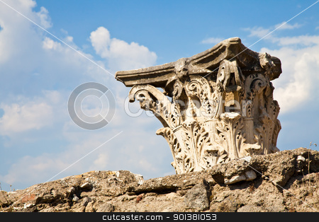 Pompeii - archaeological site stock photo, Detail of Pompeii site. The city of was destroyed and completely buried during a long catastrophic eruption of the volcano Mount Vesuvius by Perseomedusa