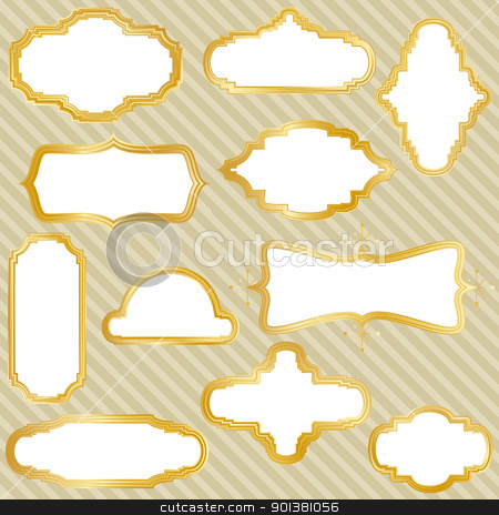 Golden Frames stock vector clipart, Set of eleven golden retro frames. by wingedcats