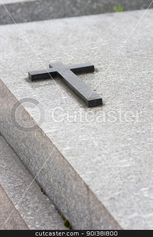 Cross on vault stock photo, Christian grave with cross on the vault by tristanbm