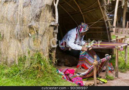 Peruvian man weaving stock photo, Cusco , Peru - May 26 2011 : Quechua Indian man weaving with strap loom by Kobby Dagan