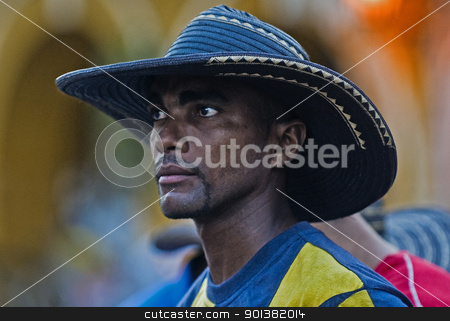 Cartagena de Indias celebration stock photo, Catagena de Indias , Colombia - December 22 : Portrait of colombian man participant  in the celebration for the presentation of the new city symbol held in Cartagena de indias on December 22 2010 by Kobby Dagan