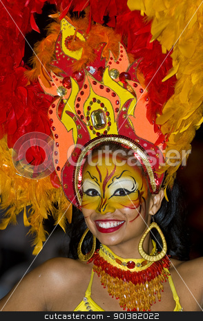 Cartagena de Indias celebration stock photo, Catagena de Indias , Colombia - December 22 : Portrait of a colombian woman participant  in the celebration for the presentation of the new city symbol held in Cartagena de indias on December 22 2010 by Kobby Dagan