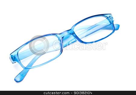 Blue glasses  stock photo, Beautiful blue glasses closeup on white background   by Ingvar Bjork