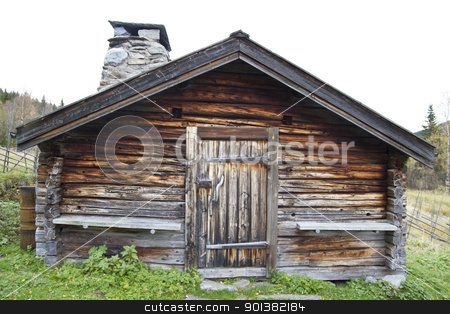Old wooden cabin stock photo, Old and traditional wooden cabin in Sweden   by Ingvar Bjork