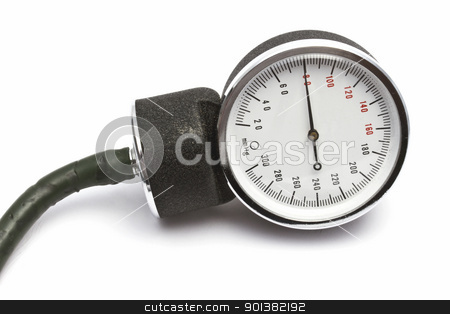 Sphygmomanometer stock photo, Sphygmomanometer closeup on white background   by Ingvar Bjork