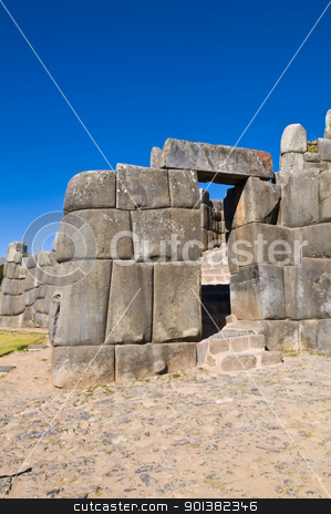 Sacsayhuaman , Peru stock photo, Ancient Sacsayhuaman , Incan ruins outside of Cusco Peru by Kobby Dagan