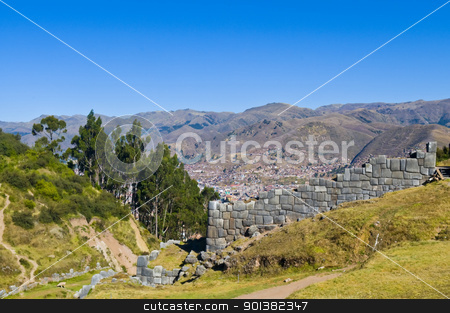 Sacsayhuaman , Peru stock photo, Ancient Sacsayhuaman , Incan ruins outside of Cusco Peru by Kobby Dagan