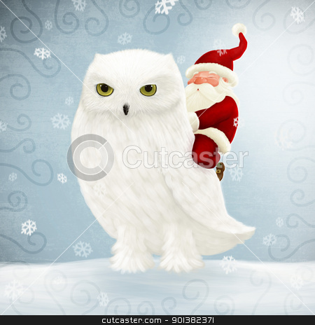 Santa Claus rides white owl stock photo, Santa Claus rides a big white owl by Giordano Aita