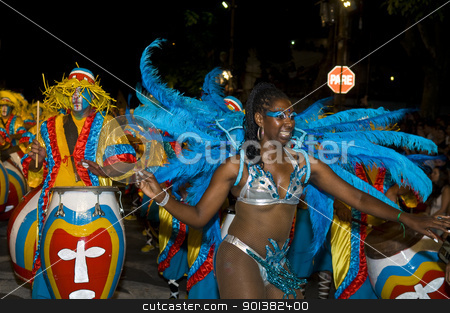Carnaval in Montevideo stock photo, MONTEVIDEO, URUGUAY - FEB 05 2011 :  dancer participant in the annual national festival of Uruguay ,held in Montevideo Uruguay on February 05 2011 by Kobby Dagan