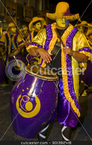 Candombe stock photo, MONTEVIDEO,URUGUAY-FEBRUARY 5 2011: Candombe drummers in the Montevideo annual Carnaval ,  Candombe is a drum-based musical style of Uruguay. Candombe originated among the African population in Montevideo Uruguay by Kobby Dagan