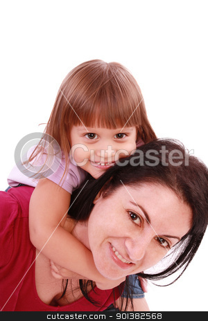 Mother and daughter smiling into the camera lens stock photo, Mother and daughter smiling into the camera lens by dacasdo