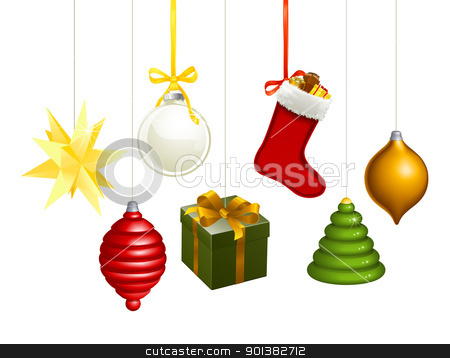 Christmas decorations illustration stock vector clipart, A series of Christmas decorations. Star, balls, gift, stockings, tree, bauble etc. by Christos Georghiou