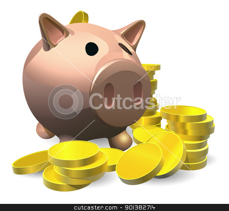 Piggy bank with gold coins illustration stock vector clipart, Piggy bank with gold coins illustration, savings concept by Christos Georghiou