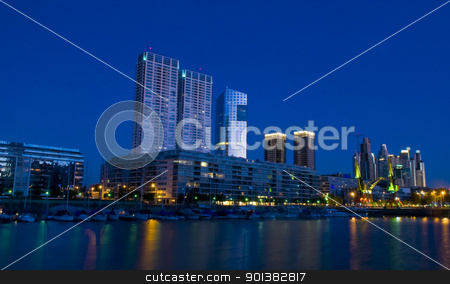 puerto madero stock photo,  Puerrto madero at night -  puerto madero is the new modern neighborhood  in Buenos Aires Argentina by Kobby Dagan