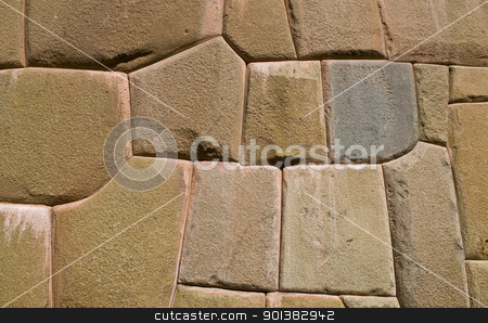 Inca stone wall stock photo, a details on one of the Inca walls in Cusco Peru by Kobby Dagan