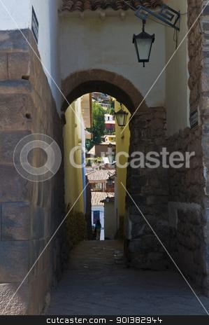 Cusco stock photo, Old narrow street in the center of Cusco Peru by Kobby Dagan