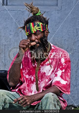 Rasta man stock photo, SAN ANDRES , COLOMBIA - DECEMBER 13 2010 : Portrait of a rastaman in the Caribbean island