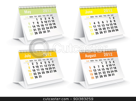 2012 desk calendar stock vector clipart, 2012 desk calendar - vector illustration by ojal_2