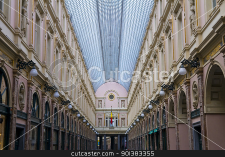Shopping center in Brussels stock photo, Ancient shopping center under glass roof in Brussels Belgium by Kobby Dagan