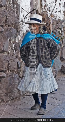 Peruvian woman stock photo, Cusco , Peru - May 26 :  Peruvian woman walk in the narrow alleys of  Cusco Peru  by Kobby Dagan
