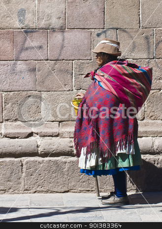Peruvian woman stock photo, Cusco , Peru - May 28 :  Peruvian woman walk in the narrow alleys of  Cusco Peru  by Kobby Dagan