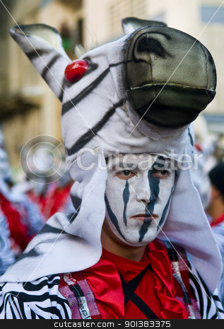 Carnaval in Montevideo stock photo, MONTEVIDEO, URUGUAY - FEBRUARY 05 2011 : A costumed carnaval participant in the annual national festival of Uruguay ,held in Montevideo Uruguay on February 05 2011  by Kobby Dagan