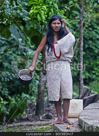 Indian woman stock photo, TAYRONA PARK , COLOMBIA - DECEMBER 17 2010 : Native Indian woman in a village in