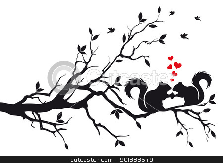 squirrels on tree, vector stock vector clipart, squirrels on tree branch, vector background by Beata Kraus