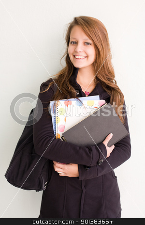 Attractive brunette student girl. stock photo, Half length portrait of an attractive brunette student girl. by exvivo