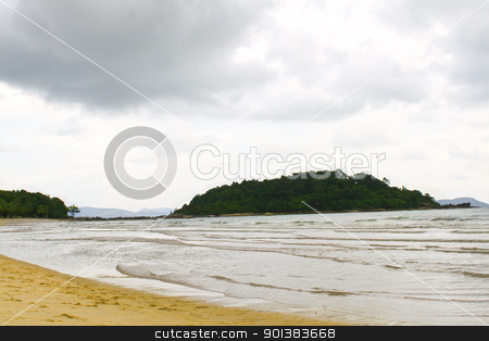 Perfect white sand beach in paradise location stock photo, Perfect white sand beach in paradise location by Haider Azim