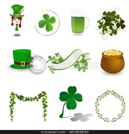St. Patrick's Day icon set stock vector clipart, St. Patrick's Day design elements, icons on white background by Richard Laschon