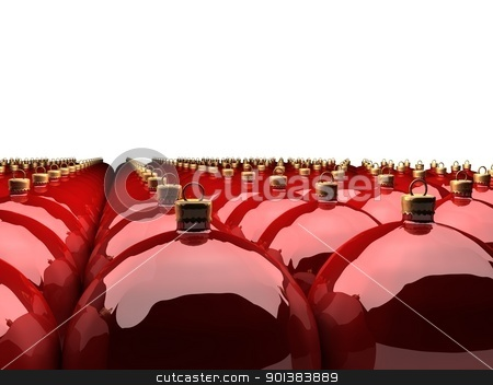 Christmas balls stock photo, a lot of christmas balls in row over white background by novelo