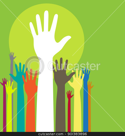 Raised hands stock vector clipart, Vector background illustration with raised hands and copy space on green by HypnoCreative