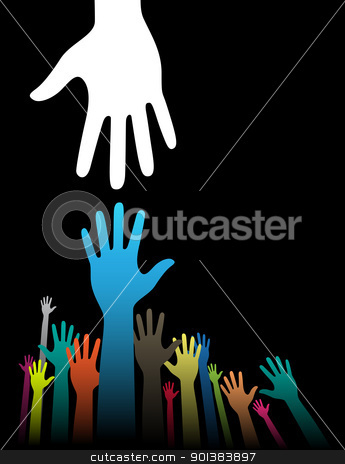 Helping Hands stock vector clipart, Vector background illustration with helping hand concept on black by HypnoCreative