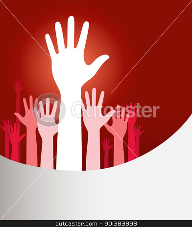 Raised hands stock vector clipart, Vector background illustration with raised hands and copy space on red by HypnoCreative