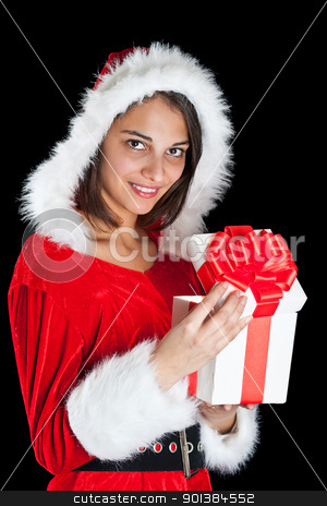 Miss Santa opening a gift box  stock photo, Miss Santa opening a gift box, isolated on black by Grafvision