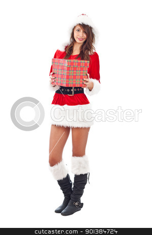 Miss Santa with gift box  stock photo, Miss Santa with gift box, isolated on white by Grafvision