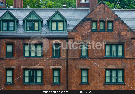 Building in New York stock photo, Front wall of a flat building in New York city by Kobby Dagan