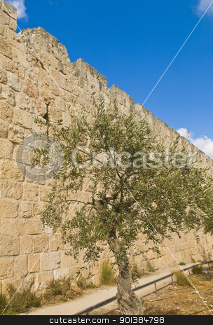 Jerusalem wall stock photo, The wall of old Jerusalem in Israel  by Kobby Dagan