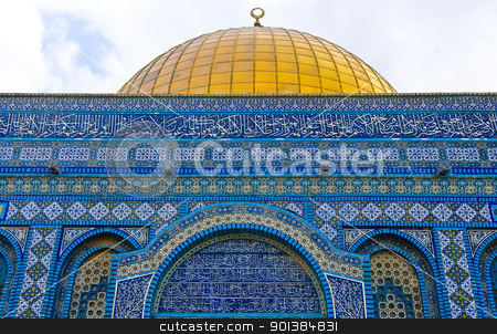 Dome of the rock stock photo, Details on the Dome of the rock in the old city of jerusalem , Israel by Kobby Dagan