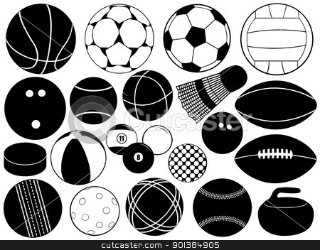 Different game balls stock vector clipart, Different game balls isolated on white by Ioana Martalogu