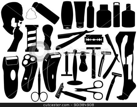 Shaving tools set stock vector clipart, Shaving tools set isolated on white by Ioana Martalogu