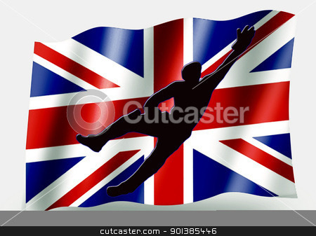 Country Flag Sport Icon Silhouette  UK Cricket Catch stock photo, Country Flag Sport Icon Silhouette Series  UK Cricket Catch by Snap2Art