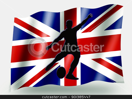 Country Flag Sport Icon Silhouette  UK Rugby Place Kick stock photo, Country Flag Sport Icon Silhouette Series  UK Rugby Place Kick by Snap2Art