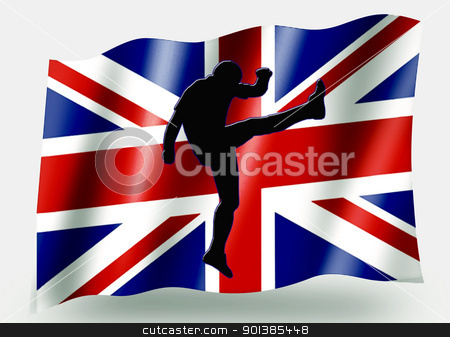 Country Flag Sport Icon Silhouette  UK Rugby Up and Under stock photo, Country Flag Sport Icon Silhouette Series  UK Rugby Up and Under Kick by Snap2Art