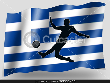 Country Flag Sport Icon Silhouette Greece Soccer stock photo, Country Flag Sport Icon Silhouette Series  Greece Soccer by Snap2Art